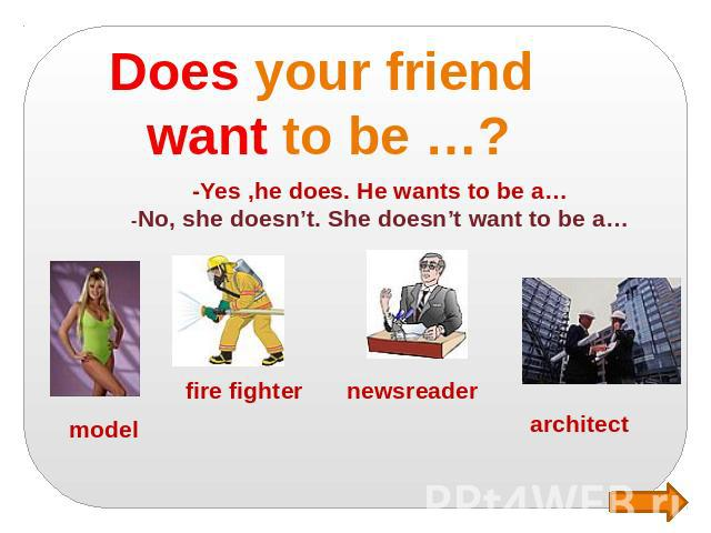 Does your friend want to be …? -Yes ,he does. He wants to be a… -No, she doesn't. She doesn't want to be a…
