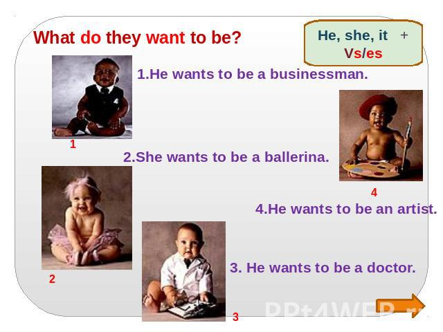 What do they want to be? 1.He wants to be a businessman. 2.She wants to be a ballerina. 3. He wants to be a doctor. 4.He wants to be an artist.