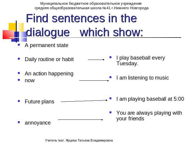 Find sentences in the dialogue which show: