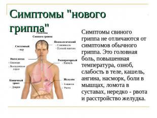 """Симптомы """"нового гриппа"""" Симптомы свиного гриппа не отличаются от симптомов обыч"""