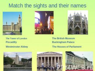 Match the sights and their names
