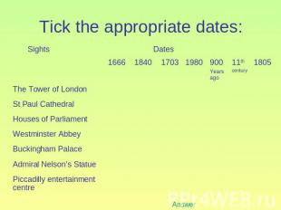 Tick the appropriate dates: