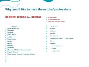 Why you d like to have these jobs/ professions Id like to become a… because this