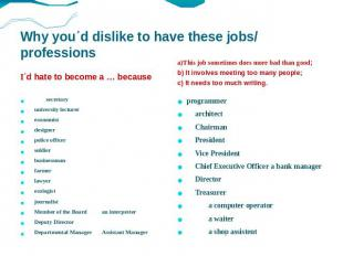 Why you΄d dislike to have these jobs/ professions I΄d hate to become a … because