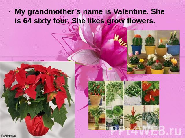 My grandmother`s name is Valentine. She is 64 sixty four. She likes grow flowers.