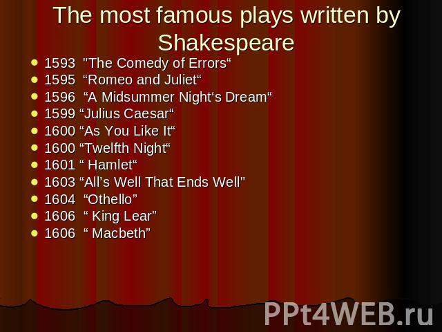 The most famous plays written by Shakespeare 1593