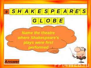 Name the theatre where Shakespeare's plays were first performed
