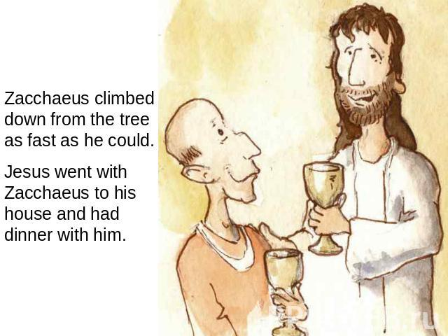 Zacchaeus climbed down from the tree as fast as he could. Jesus went with Zacchaeus to his house and had dinner with him.