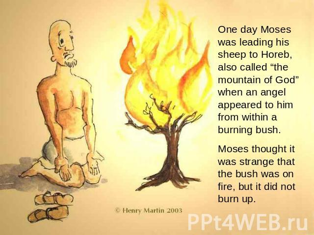 "One day Moses was leading his sheep to Horeb, also called ""the mountain of God"" when an angel appeared to him from within a burning bush. Moses thought it was strange that the bush was on fire, but it did not burn up."