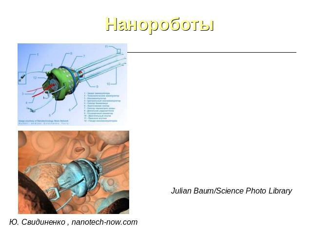 Нанороботы Ю. Свидиненко , nanotech-now.com Julian Baum/Science Photo Library