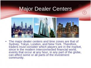 Major Dealer Centers The major dealer centers and time zones are that of Sydney,
