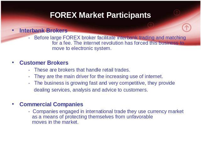 FOREX Market Participants Interbank Brokers - Before large FOREX broker facilitate interbank trading and matching for a fee. The internet revolution has forced this business to move to electronic system. Customer Brokers - These are brokers that han…