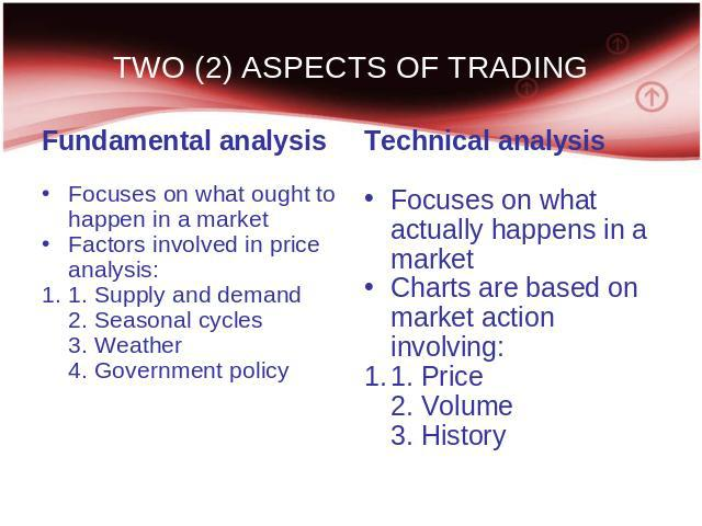 TWO (2) ASPECTS OF TRADING Fundamental analysis Focuses on what ought to happen in a market Factors involved in price analysis: 1. Supply and demand 2. Seasonal cycles 3. Weather 4. Government policy