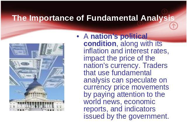 The Importance of Fundamental Analysis A nation's political condition, along with its inflation and interest rates, impact the price of the nation's currency. Traders that use fundamental analysis can speculate on currency price movements by paying …