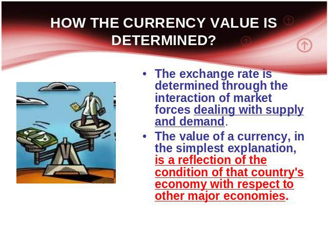 HOW THE CURRENCY VALUE IS DETERMINED? The exchange rate is determined through the interaction of market forces dealing with supply and demand. The value of a currency, in the simplest explanation, is a reflection of the condition of that country's e…