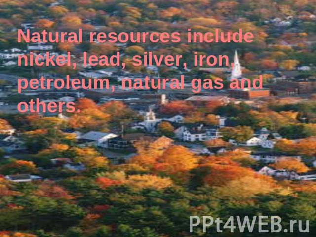 Natural resources include nickel, lead, silver, iron, petroleum, natural gas and others.