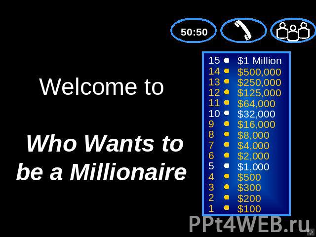 Welcome to Who Wants to be a Millionaire