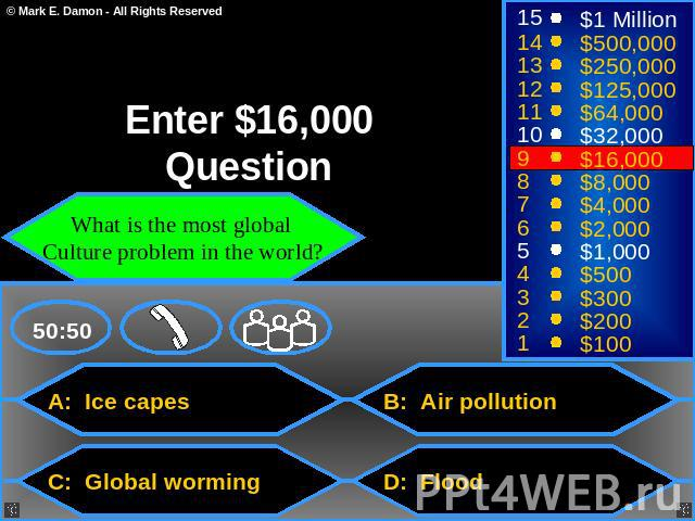 Enter $16,000 Question What is the most global Culture problem in the world? A: Ice capes B: Air pollution C: Global worming D: Flood