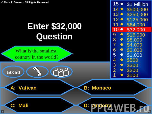 Enter $32,000 Question What is the smallest country in the world? A: Vatican B: Monaco C: Mali D: Andorra