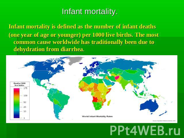 Infant mortality Infant mortality is defined as the number of infant deaths (one year of age or younger) per 1000 live births. The most common cause worldwide has traditionally been due to dehydration from diarrhea.