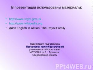 http://www.royal.gov.uk http://www.royal.gov.uk http://www.wikipedia.org Диск En