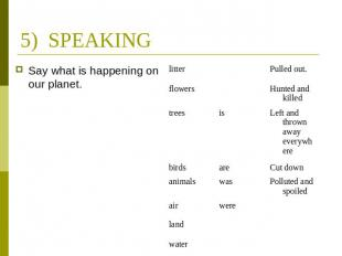 5) SPEAKING Say what is happening on our planet.