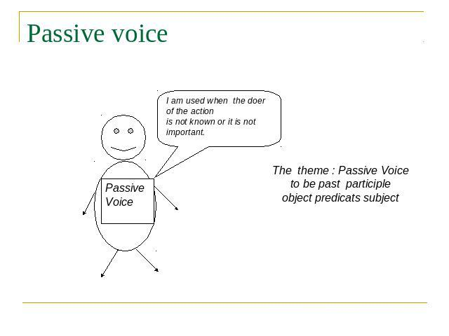 Passive voice I am used when the doer of the action is not known or it is not important. Passive Voice The theme : Passive Voice to be past participle object predicats subject