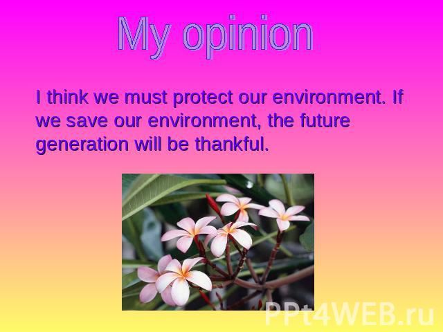 My opinion I think we must protect our environment. If we save our environment, the future generation will be thankful.