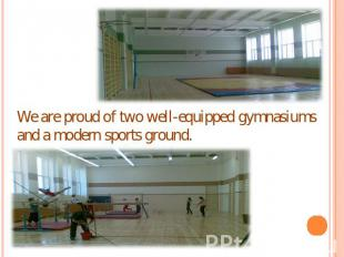 We are proud of two well-equipped gymnasiums and a modern sports ground.