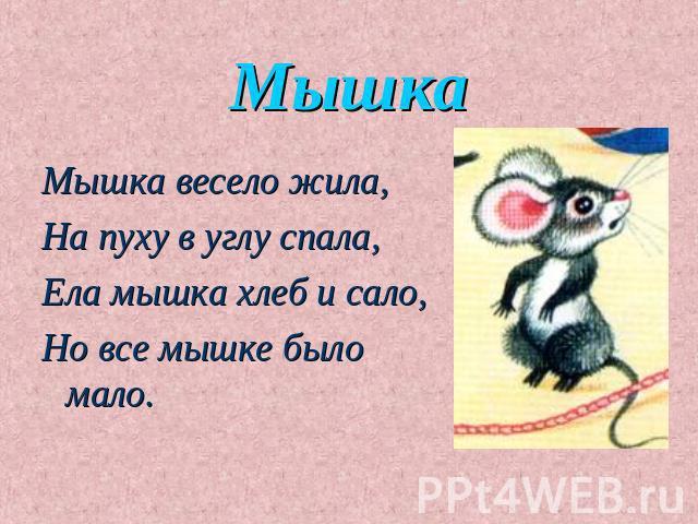 стихи для детей про мышку форму