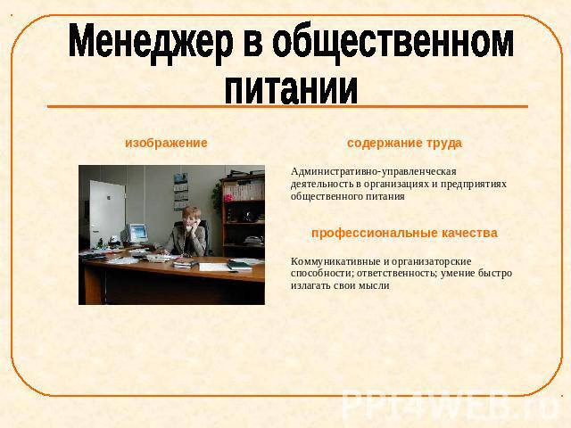 Реферат профессиональная деятельность в торговле и общественном питании 2771