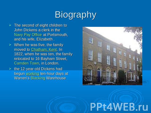 Biography The second of eight children to John Dickens a clerk in the Navy Pay Office at Portsmouth, and his wife, Elizabeth .When he was five, the family moved to Chatham, Kent. In 1822, when he was ten, the family relocated to 16 Bayham Street, Ca…