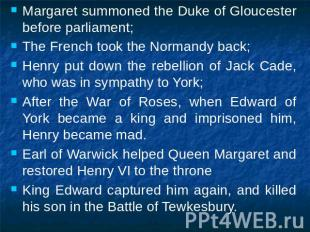 Margaret summoned the Duke of Gloucester before parliament;The French took the N