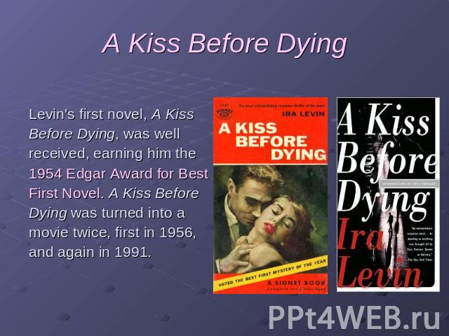 a kiss before dying novel pdf
