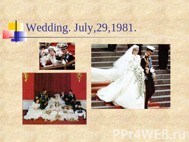 Wedding. July,29,1981.