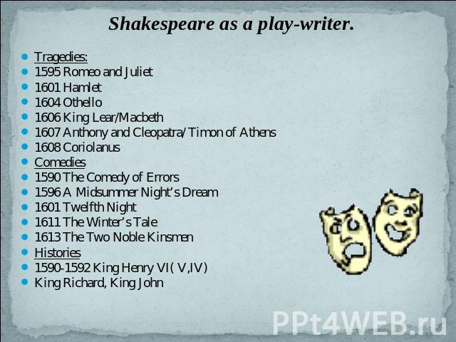 Shakespeare as a play-writer. Tragedies:1595 Romeo and Juliet1601 Hamlet1604 Othello1606 King Lear/Macbeth1607 Anthony and Cleopatra/ Timon of Athens1608 CoriolanusComedies1590 The Comedy of Errors1596 A Midsummer Night's Dream1601 Twelfth Night1611…