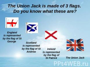 The Union Jack is made of 3 flags. Do you know what these are? Englandis represe