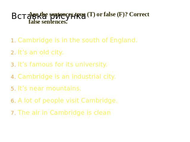 Are the sentences true (T) or false (F)? Correct false sentences. Cambridge is in the south of England.It's an old city.It's famous for its university.Cambridge is an industrial city.It's near mountains.A lot of people visit Cambridge.The air in Cam…