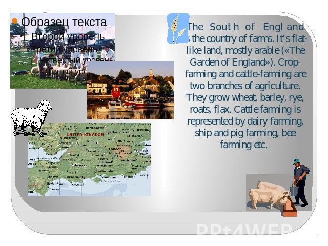 The South of England is the country of farms. It's flat-like land, mostly arable («The Garden of England»). Crop-farming and cattle-farming are two branches of agriculture. They grow wheat, barley, rye, roats, flax. Cattle farming is represented by …