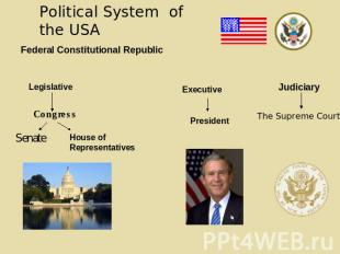 Political System of the USA Federal Constitutional Republic Legislative Congress