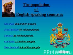 The population of English-speaking countries The USA-252 million people Great Br