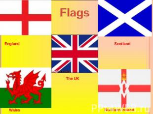 Flags England Scotland Wales The UK Northern Ireland