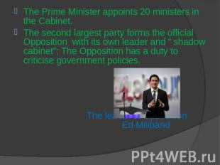 The Prime Minister appoints 20 ministers in the Cabinet.The second largest party