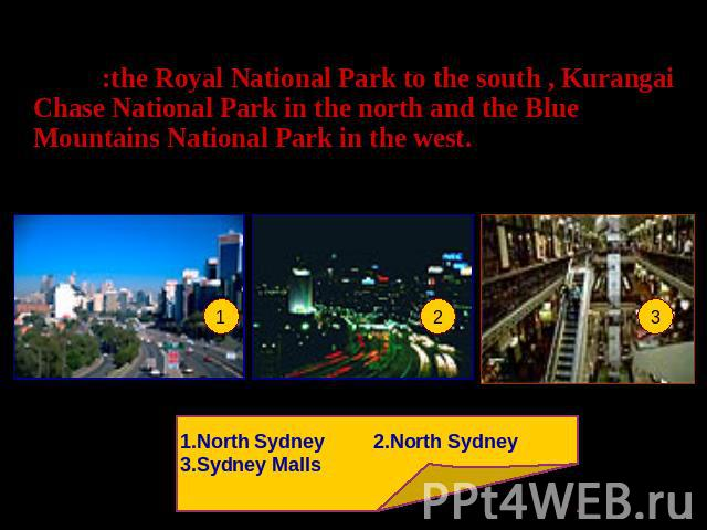 Sydney is a huge city area wise but the city has spread out as far as it can go as it now borders 3 National Parks:the Royal National Park to the south , Kurangai Chase National Park in the north and the Blue Mountains National Park in the west. 1.N…