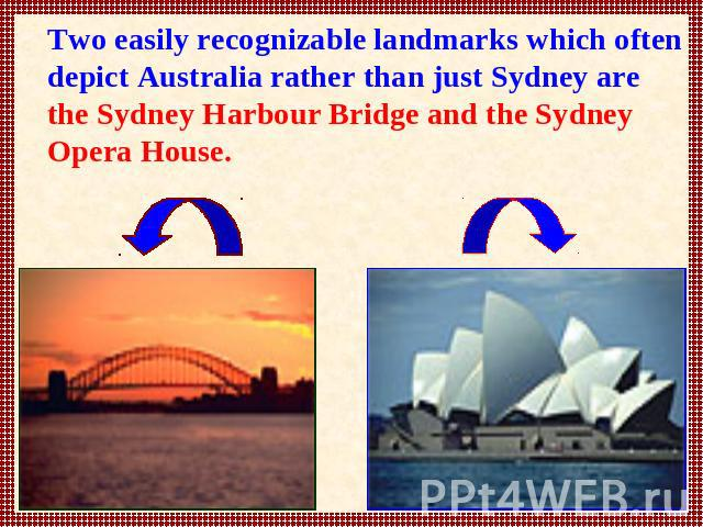 Two easily recognizable landmarks which often depict Australia rather than just Sydney are the Sydney Harbour Bridge and the Sydney Opera House.