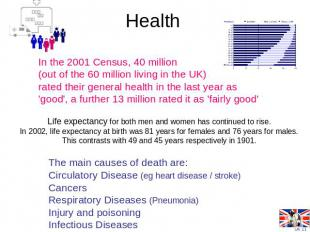 Health In the 2001 Census, 40 million (out of the 60 million living in the UK) r