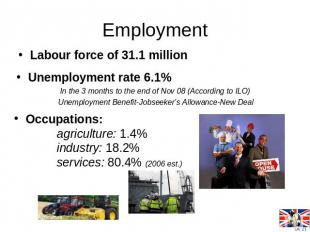 EmploymentLabour force of 31.1 million Occupations: agriculture: 1.4% industry: