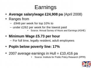 Earnings Average salary/wage £24,908 pa (April 2008)Ranges from £946 per week fo