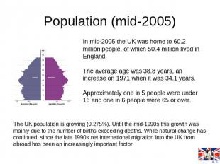 Population (mid-2005) In mid-2005 the UK was home to 60.2 million people, of whi