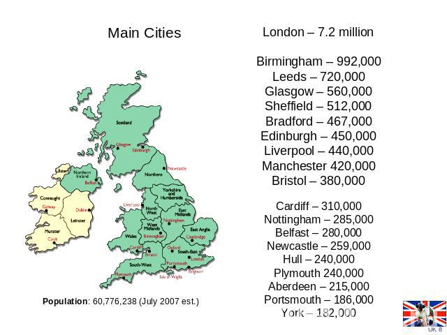 Main Cities Population: 60,776,238 (July 2007 est.) London – 7.2 millionBirmingham – 992,000Leeds – 720,000Glasgow – 560,000Sheffield – 512,000Bradford – 467,000Edinburgh – 450,000Liverpool – 440,000Manchester 420,000Bristol – 380,000 Cardiff – 310,…